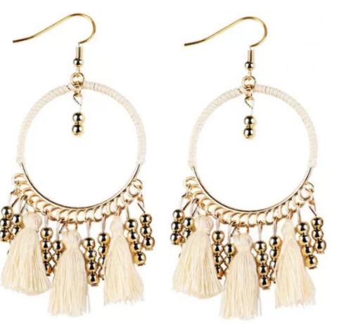 boucles doreilles style bohemien pendants blanc