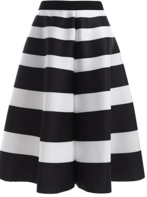 jupe rayée taille haute blanc et noir