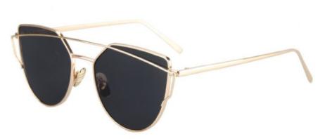 metal bar golden frame pilot lunettes de soleil noir