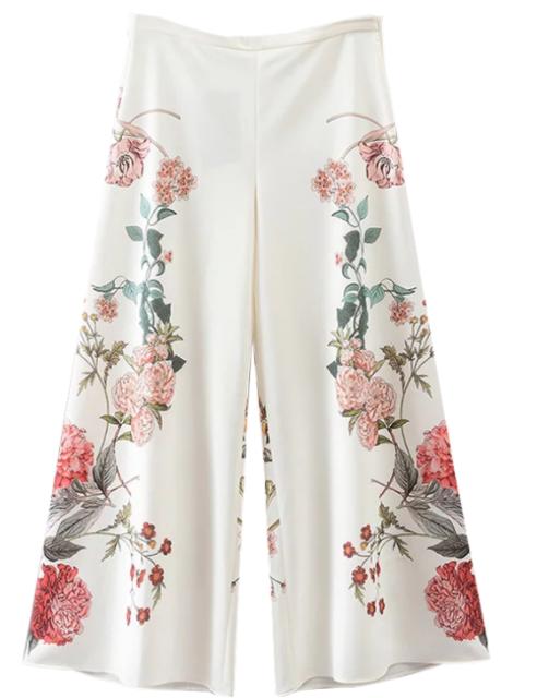 pantalon floral culotte blanc