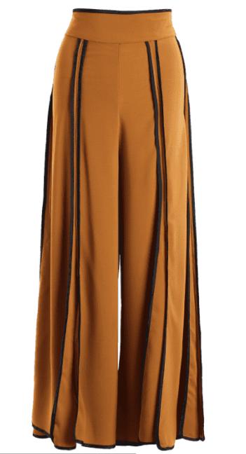 pantalon taille haute a rayures orange fonce