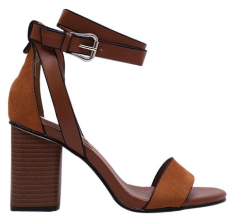 sandales talon chunky en daim brun