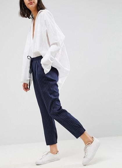 Pantalon de jogging en tissu à rayures fines