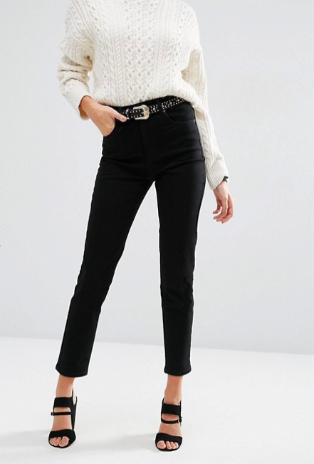 High waist slim mom jeans in clean black