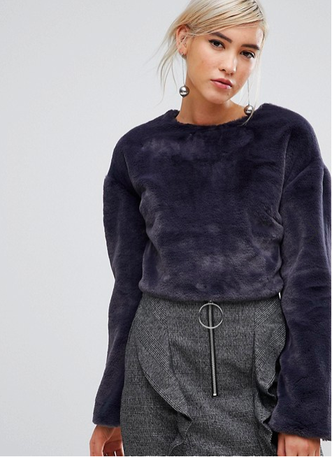 Lost Ink long sleeve top in soft faux fur