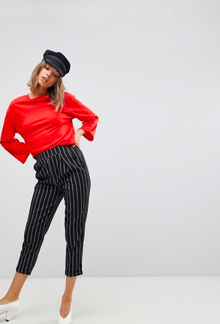 Stradivarius stripe peg leg pants