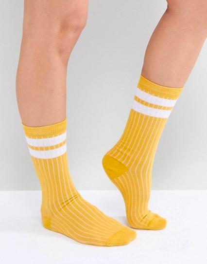 Chaussettes mi-mollet à rayures