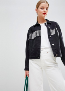 denim jacket in washed black with beaded fringing