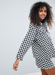 Monki Checker Board Denim Jacket