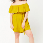 Plus Size Off-the-Shoulder Flounce Romper