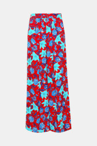Pantalon ample en crêpe à imprimé fleurs stylisé