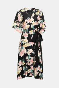 Robe portefeuille en crêpe, à imprimé fleuri et ceinture